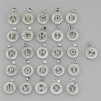 CH-JAB0859 fashion hot sale letter charm,micro pave CZ letter pendant,wholesale CZ jewelry charm