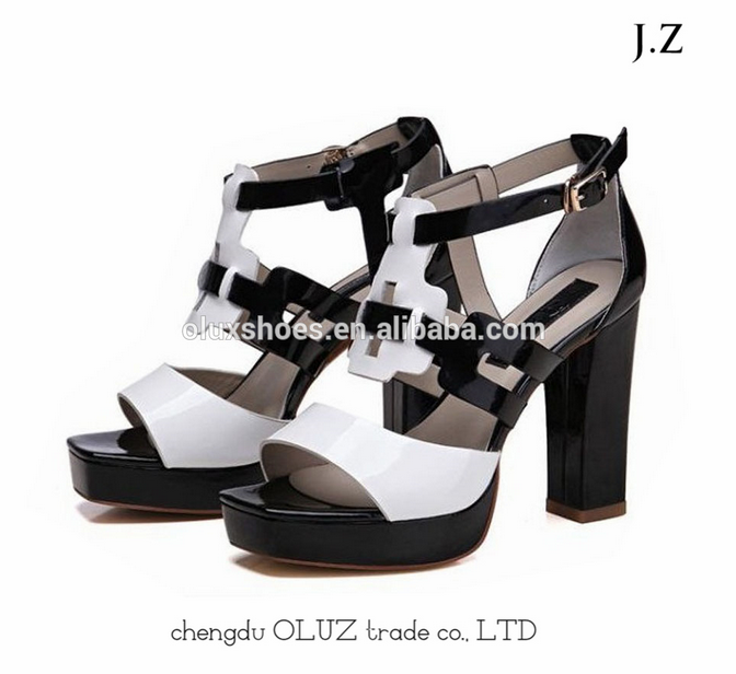 OS03 2017 New Design Comfort Open Toe Strap Block Heel Sandals For Women