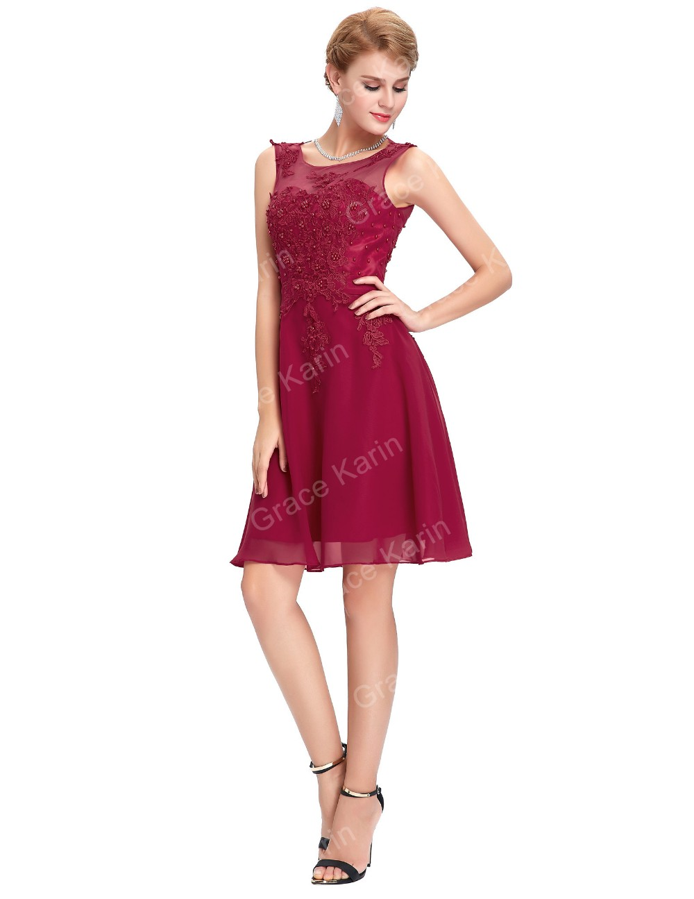 Grace Karin New Arrival Sleeveless Crew Neck Wine Red Chiffon Short Prom Dress Patterns GK000063-2