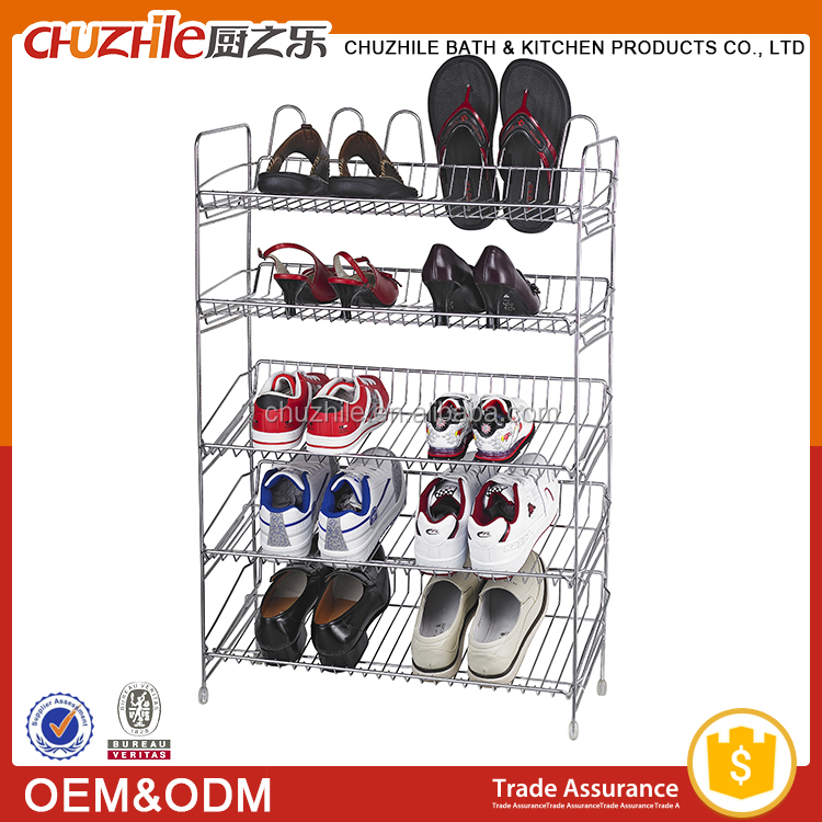 Iron chome painted compact cheap shoe rack accessories