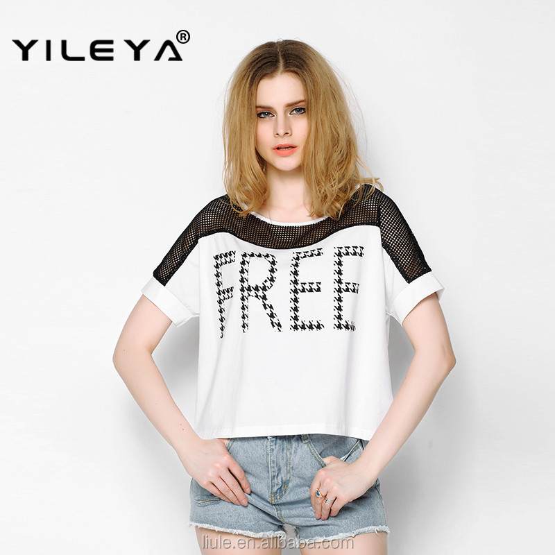 new arrival for 2015 ladies wholesale trendy t-shirts, embroidered t shirts