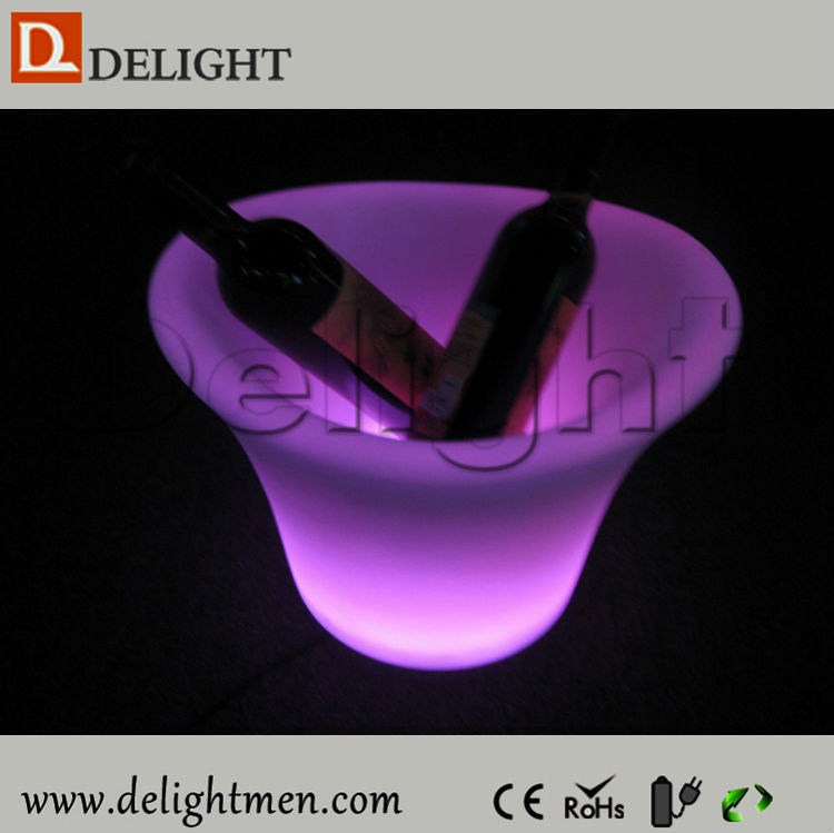 Best sale 2 walls rechargeable 16 colors changing plastic led illuminated wine ice bucket for birther party