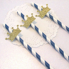crown baby shower <strong>wedding</strong> or birthday party decorations gold glitter paper party straw