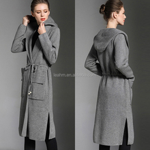 China factory OEM winter women clothing long sleeve grey long jackets with hood
