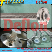 STAINLESS STEEL BRAIDED HIGH GRADE PTFE CONVOLUTED HOSE FLANGE END DAIKIN OR DUPONT MATERIAL TEFLON HOSE FDA COMPLIANCE