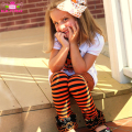 New Pattern Child Icing Leggings Triple Ruffle Pants Halloween Orange and Black Stripe Baby Girls Icing Pants