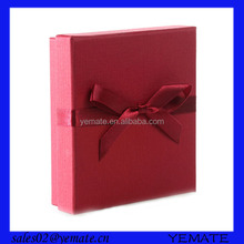Red color printed rigid cardboard chipboard gift box packaging for necklace