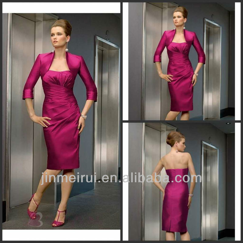 Wholesale Made In China Elegant Sheath Mother Dresses Taffeta Strapless Tea Length Red Mother of the Bride Dresses