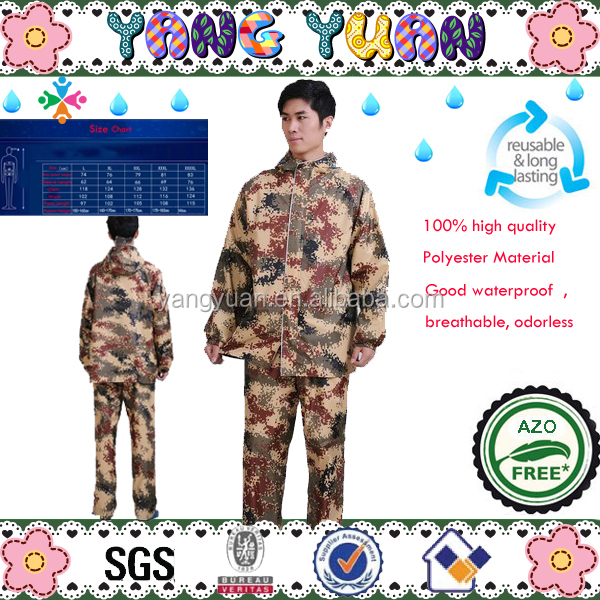 Camouflage Raincoat Size for adults