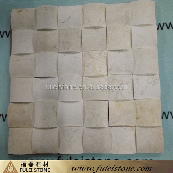 Hot Sale Volakas White Greek 3D Waves Marble Mosaic Tiles