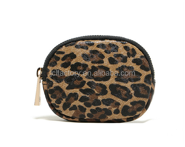 Sexy leopard grain small challenge coin holder wallet purse