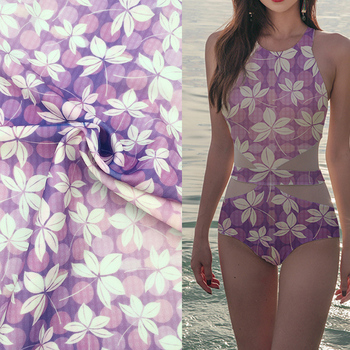 Floral printing swimming dress material stretch swimwear fabric
