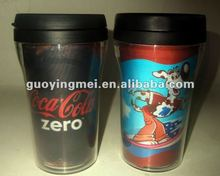 Lenticular plastic double wall cup