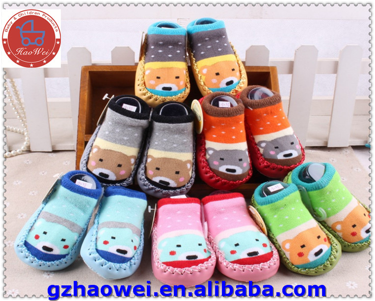 Colorful leather baby shoes socks