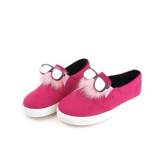 Low Price Kid Suede With Fur And Glasses Decoration Girls Casual Shoes