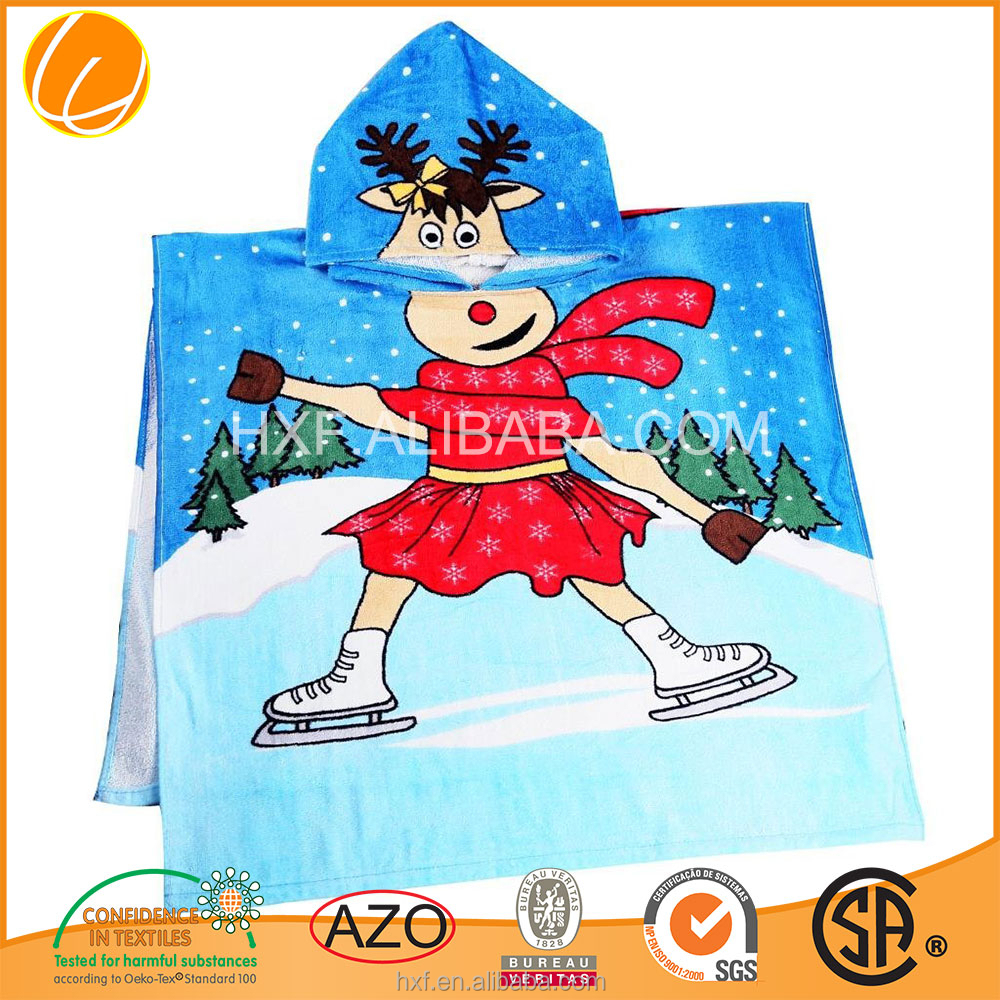 printed ponchos terry cloth poncho hooded beach towel 2015 China wholsales OEM manufacture promotion custom high quality