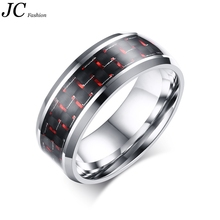 Wholesale Stainless Steel Red Carbon Fiber Ring Made in China