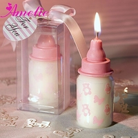 A08G14 Unique Paraffin Pink Baby Bottle Candle Favors