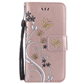 For iPhone 7 Printed flower leather case with card slots