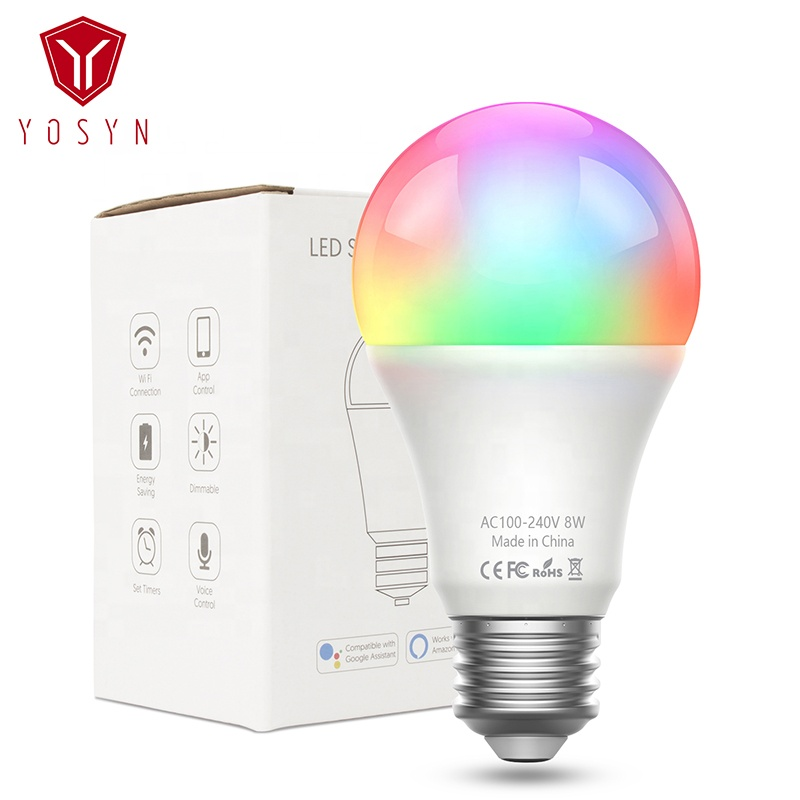 Wholesale Great Quality 8W Google Home Light <strong>Bulb</strong> RGB LED Wifi Smart <strong>Bulb</strong> Alexa