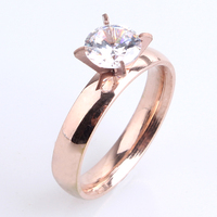 Hot Sale rose gold plated ring cz diamond ring setting zircon
