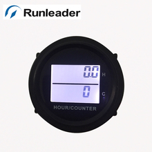 Round DC 8-48V Power Black LCD Hour meter and counter for Marine forklift truck tractor cleaning van vehicle golf cart RL-HM005D