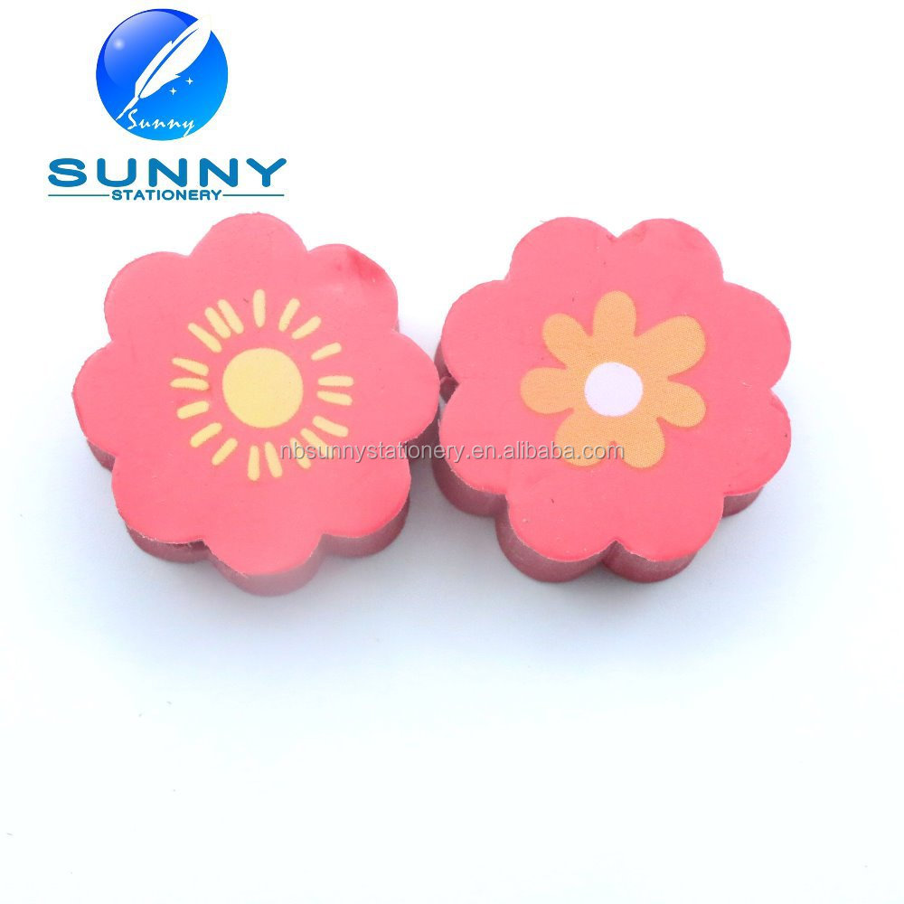 flower shaped 2D eraser for school children