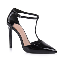 Sexy super high heels T strap sharp close toe women shoes