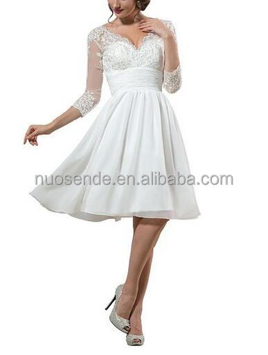 Women's Wedding Dress Knee Length lace Bride Gown with Sleeve