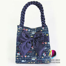 Handbags : Blue Letter Vintage Ladies Handbags (Fold Side) With Front Ribbon And Twisted Fabric Handle , Tote Bag , Cloth Purses