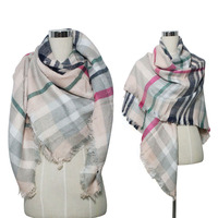 Fashion Acrylic Plaid Tassel Square Scarf