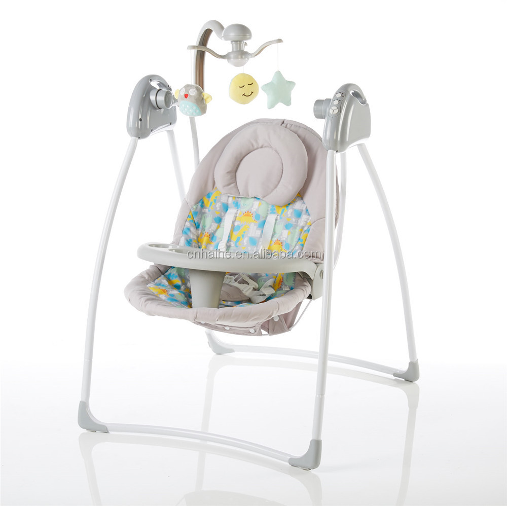 Electric baby swing with canopy and front tray