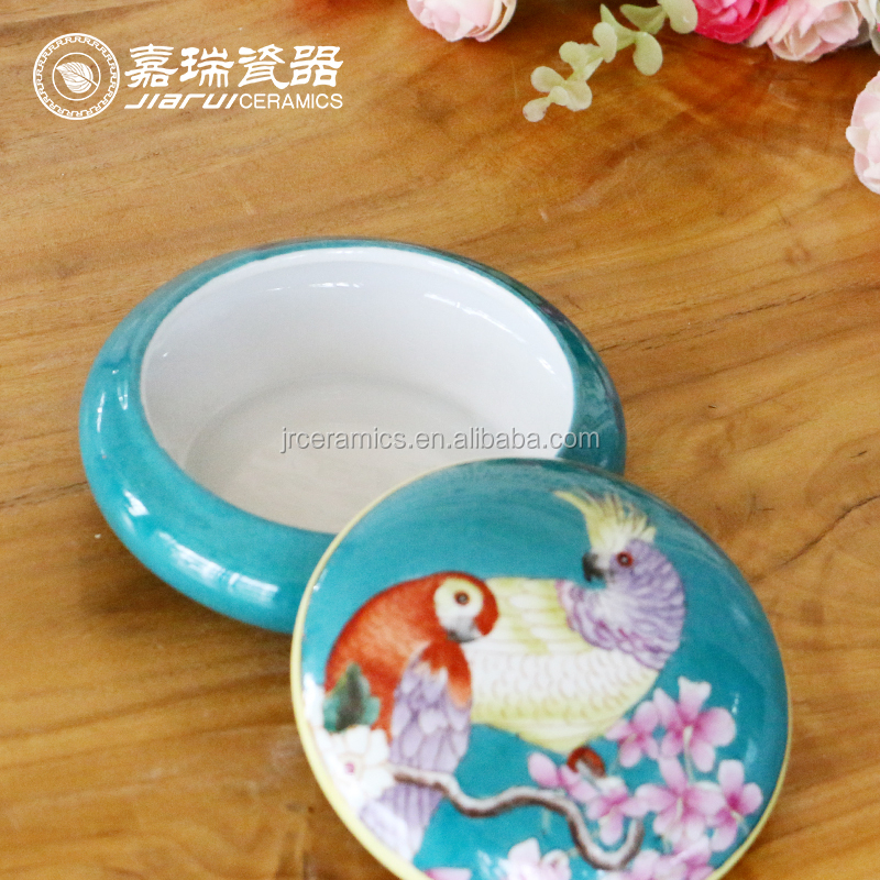 Hand Made Painted Flower Animal Parttern Porcelain Custom Ceramicd Jewelry Box