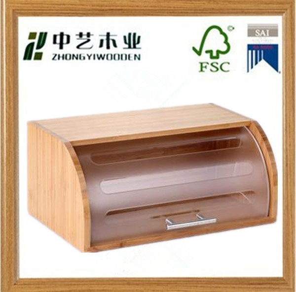 2015 decorative factory supplied eco-friendly display pine wooden bread box