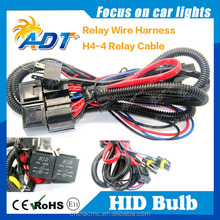 Auto parts H4 relay harness/H4-4 hid bi-xenon relay cable wire harness,H4 Wirings,HID Cables of H4Hi/Lo