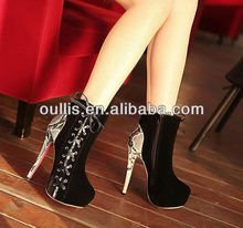 sexy high heel shoes 2015 ladies ankle boots with shoe lace PZ2671