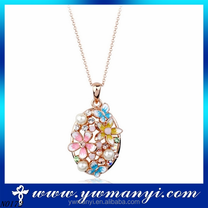 Latest Fashion gold plated necklace costume colorful flower crystal enamel gemstone pearl pendant necklace N0172