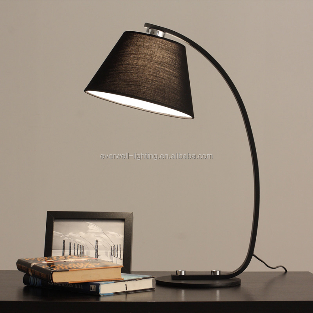 modern new design fabric table led lamp for hotel iron fish shape table reading light
