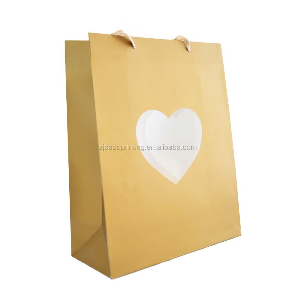 Custom Heart Gift Paper Bag /Promotional Gift Paper Bag With Your Logo
