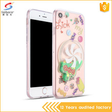 Factory direct supply lollipop design tpu liquid glitter quicksand phone case for iphone 4 5 6 7