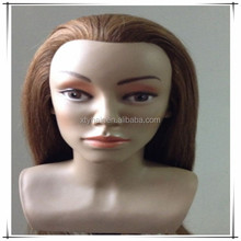 Cheap human hair mannequin or training doll head with shoulder, hair heads for school