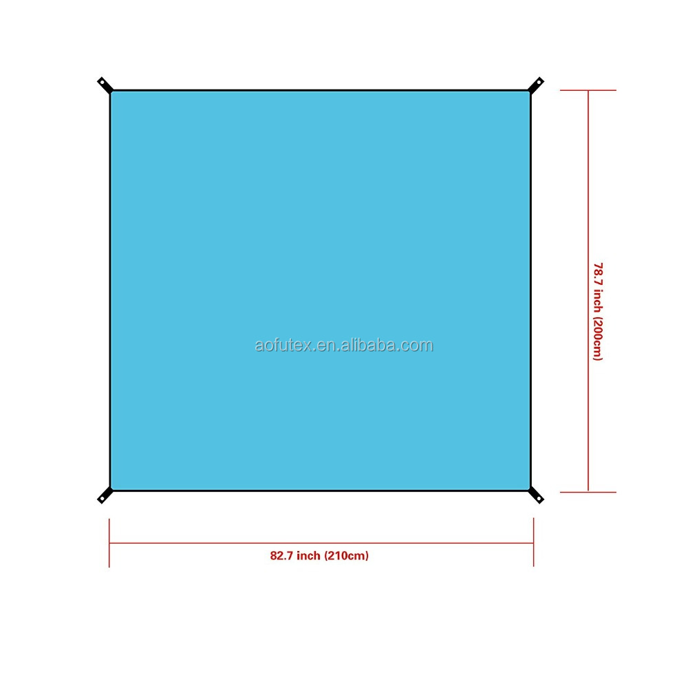 AOFU Waterproof Camping Tent Footprint Tarp Groundsheet Blanket Mat for Sunshade Shelter Canopy Shade Rain with 4 stakes and bag