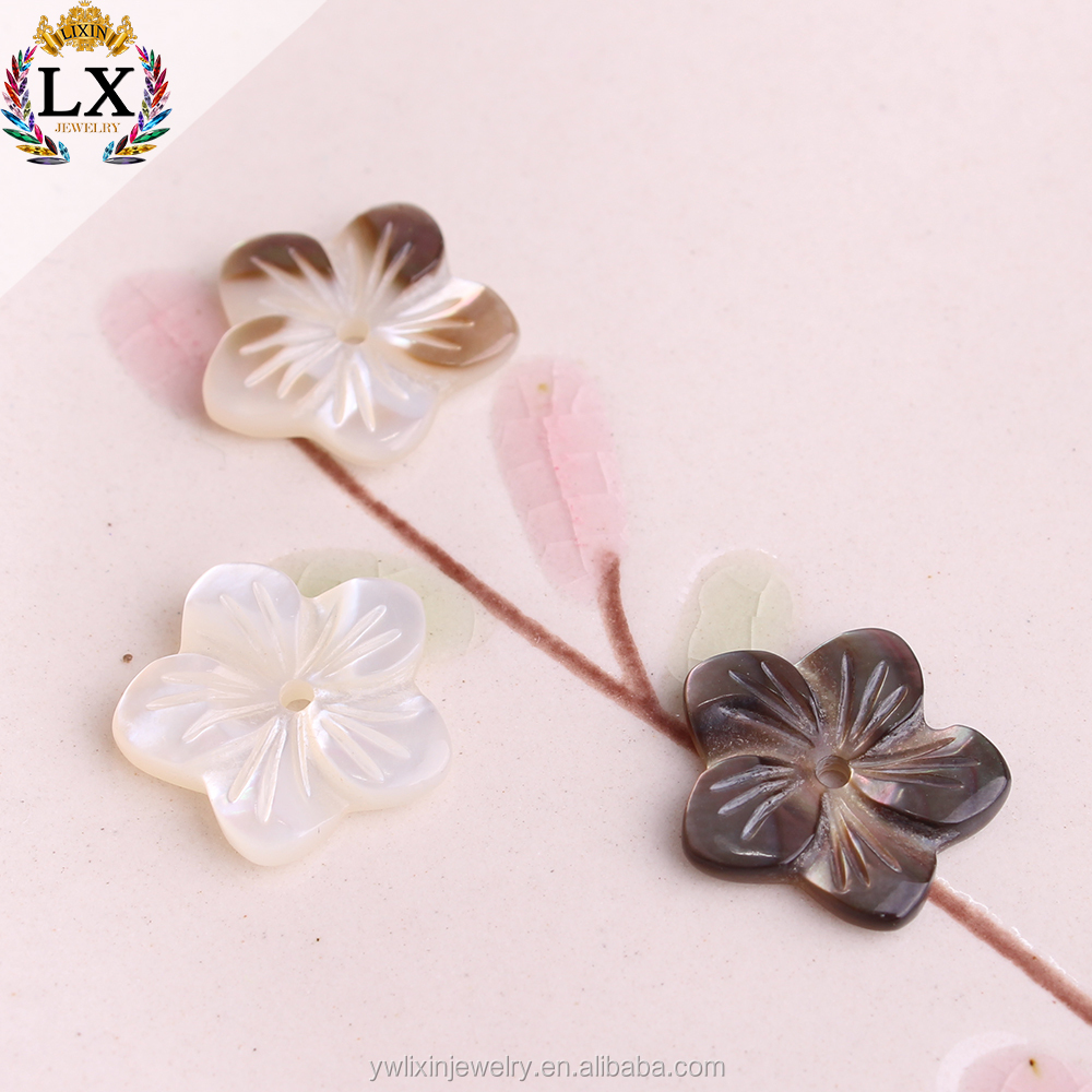 wholesale loose natural carved shell beads flower shape in bulk for decorating half drilled