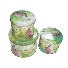 cute gift use round tea tin box set of 3