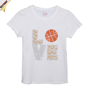 LOVE Basketball Shining Iron on Rhinestone Transfer Short Sleeve T-shirt