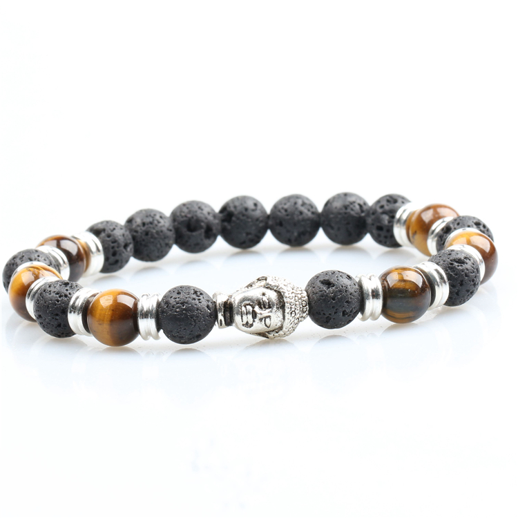 2017 Fashion Lava and Tiger Eye Gold Buddha Nature Stone Beads Bracelet For Men