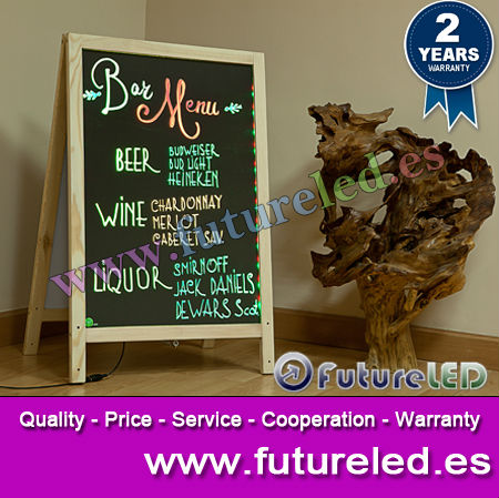 60 x 80 cm Double LED Writing Board- Wooden Frame!