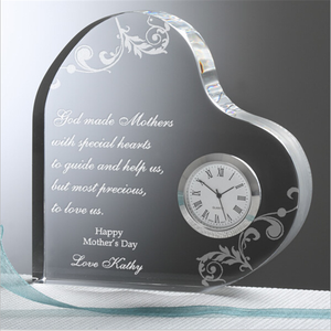 wholesale clear Heart Shaped Crystal table Clock With laser engraved for wedding favors