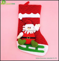 38CM wholesale party christmas socks hanging christmas santa socks, Xmas hanging decoration christmas sock BGSY1018