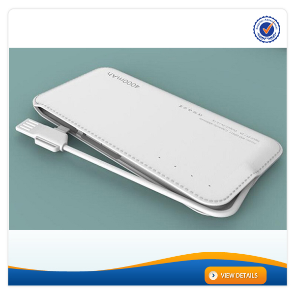 AWC456 4000mAh dual usb leather power bank, powerbank Factory,super power battery charger